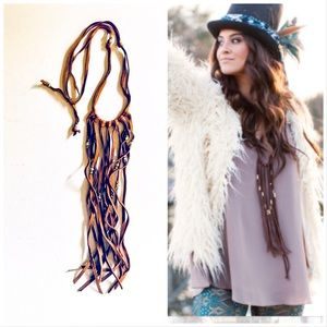 Jewelry - NWOT🌵Brown Fringe Leather/Beads Boho Necklace